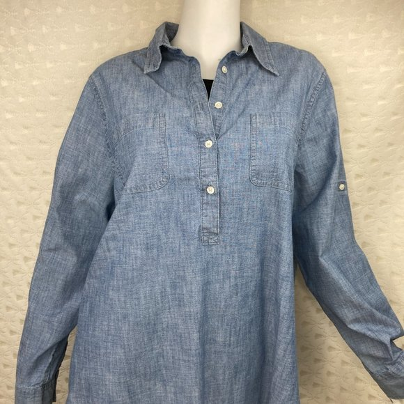 Lands' End Chambray Denim Popover Tunic Top Large